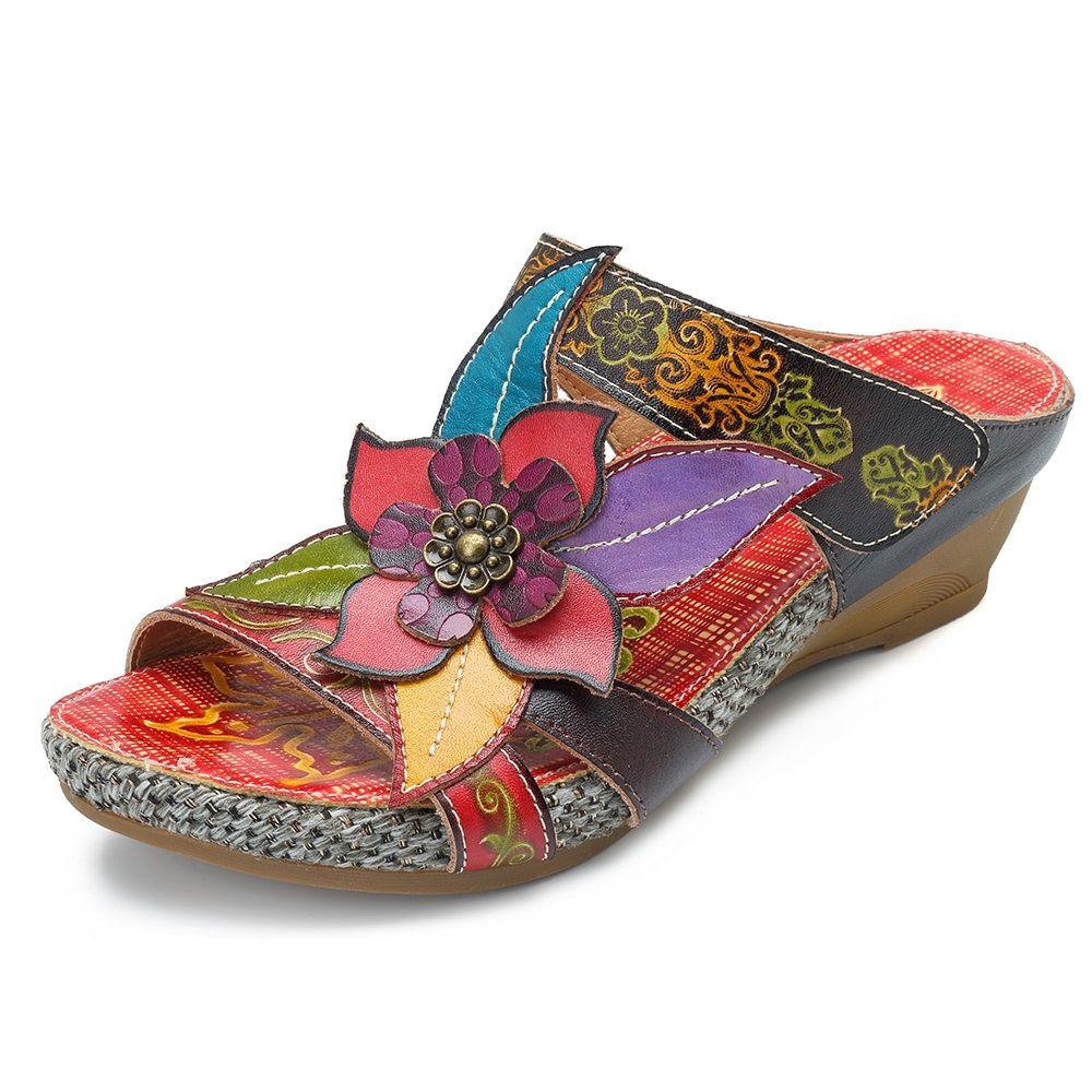 61b2c8532fb High-quality SOCOFY Bohemian Leather Adjustable Hook Loop Handmade Flowers  Sandals - NewChic