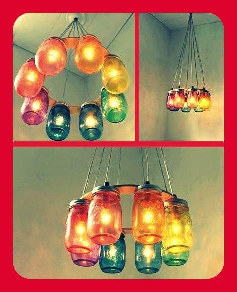 Ara a de techo con frascos de vidrio deco espacios - Como hacer lamparas colgantes ...