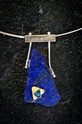 Piece / Title: Lapis Pendant with Black Opal  Fabricated, HandMade, Opal, SemiPrecious Designer / Author: Bruce Hartman