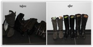 Boots organized with cardboard-holders
