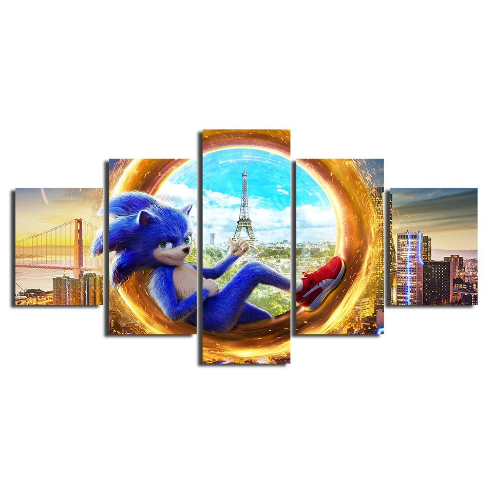 Canvas Prints Painting 5 Pieces Sonic The Hedgehog Movie Poster Wall Art Living Room Modular Super Sonic Pict In 2020 Poster Wall Art Movie Poster Wall Canvas Wall Art