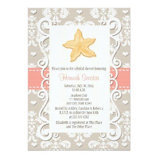 Coral Starfish Bridal Shower Invitations