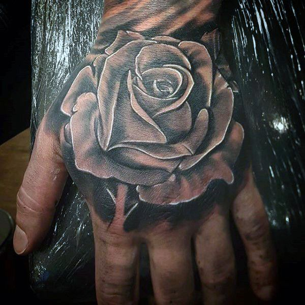 fb7a63afb Awesome Black Rose Tattoo On Hand For Men | My tattoos | Black rose ...