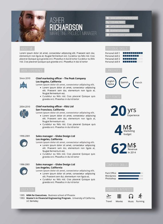 Modern Resume Template Professional Resume Template Modern CV - Modern Resume Styles