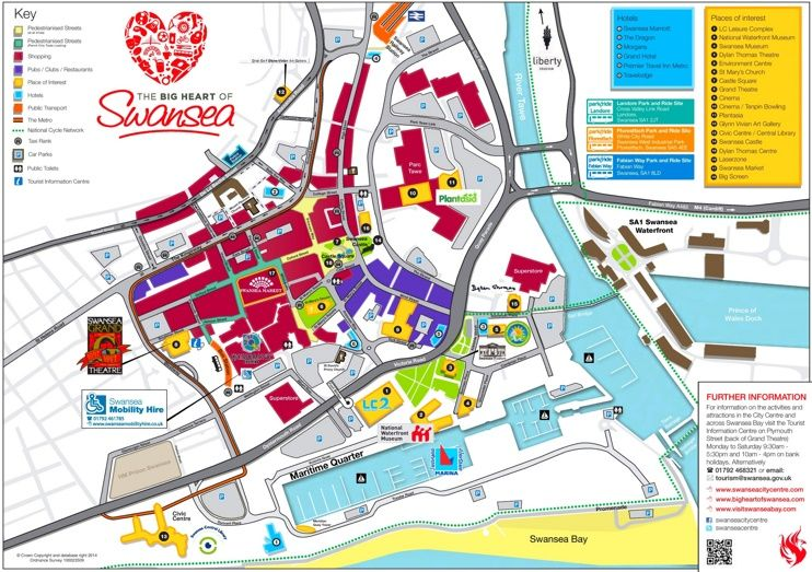 Swansea hotels and sightseeings map Maps Pinterest Swansea and