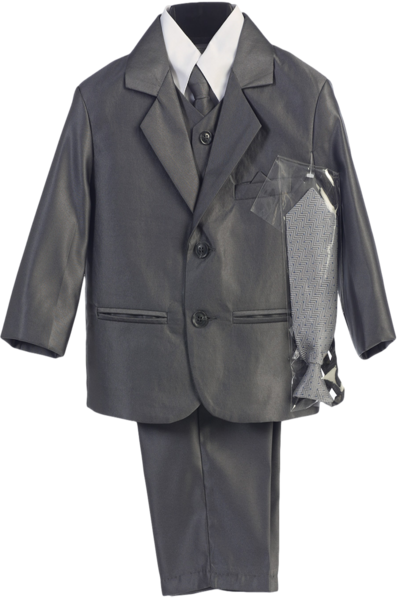 Boys Light Silver Wedding Slim Fit Formal Suits 5 Piece Set With Silver Tie