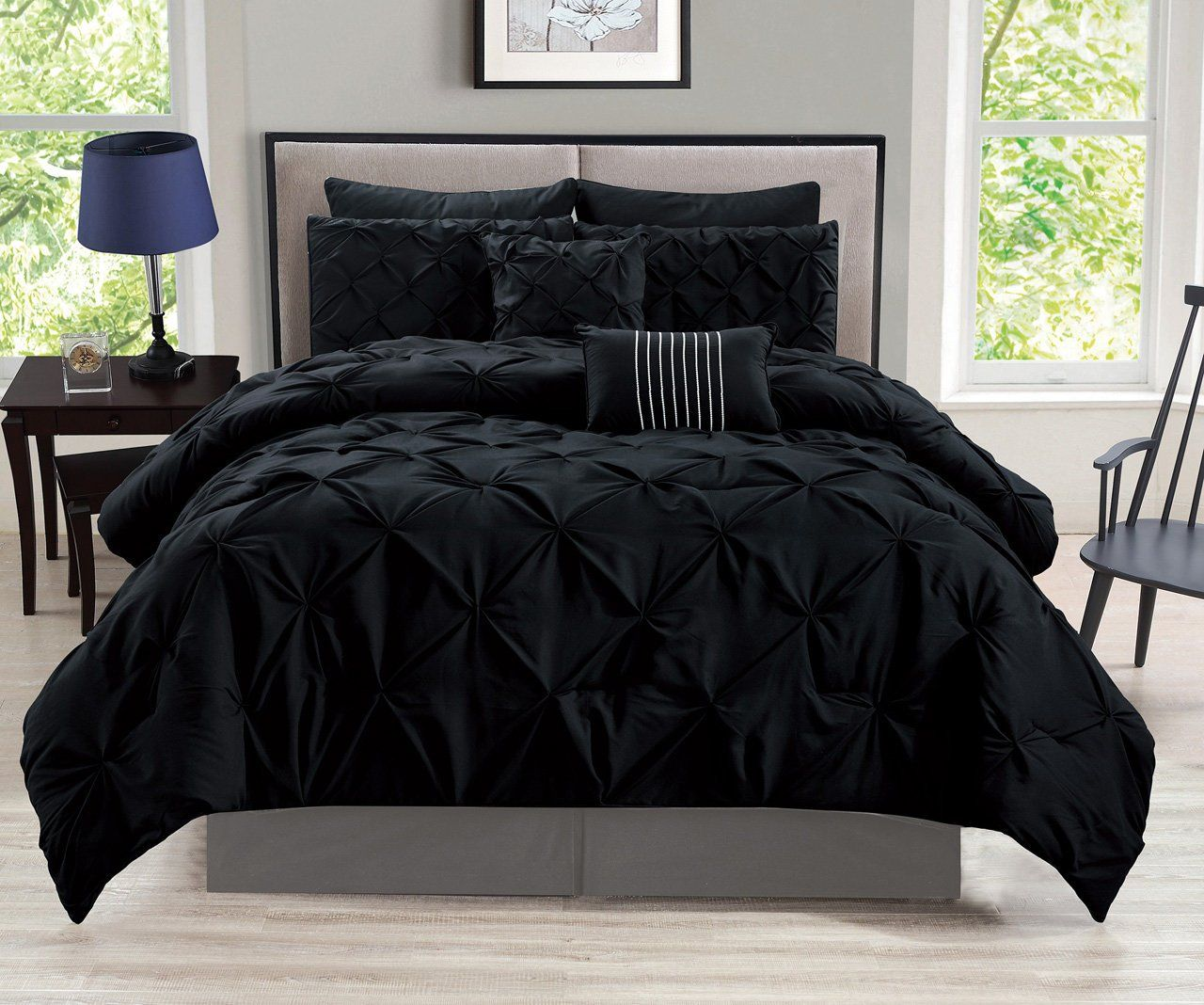 Best 12 Piece Rochelle Pinched Pleat Black Bed In A Bag Set 400 x 300