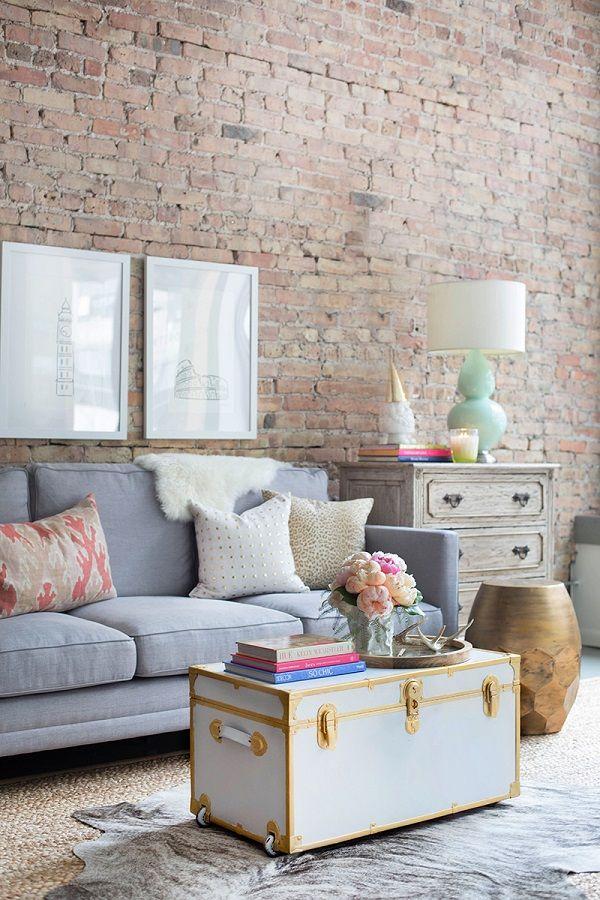 Sala de estar bem r stica principalmente com a paleta de for Sala de estar rustica