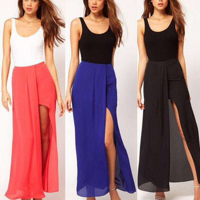 Solid side split maxi dress
