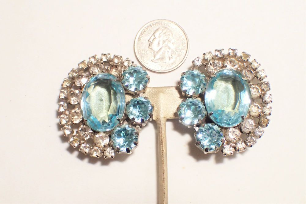 Alan Anderson One Of A Kind Huge Topaz Blue and Clear Rhinestone Clip Earrings…