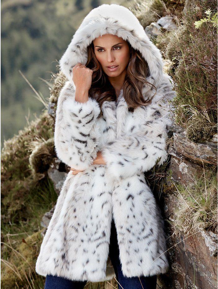 M&Co. Women Faux Fur Hooded Animal Coat