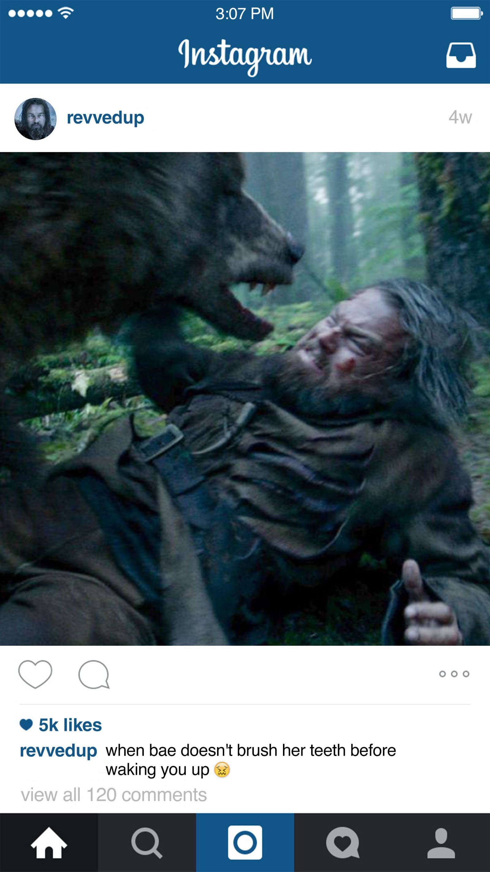 "If Leonardo DiCaprio Had Instagram in ""The Revenant"" The"