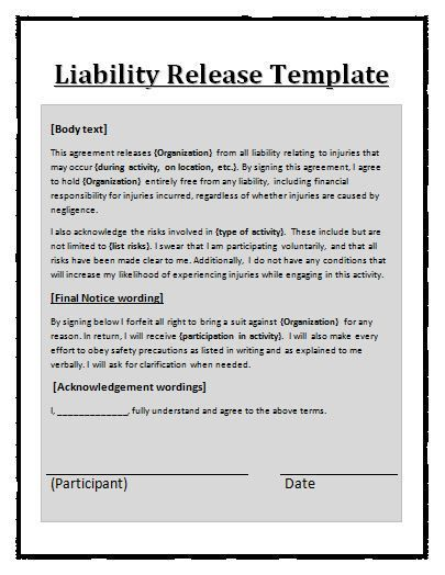 Liability Release Template Liability Waiver Templates Printable Free Legal Forms