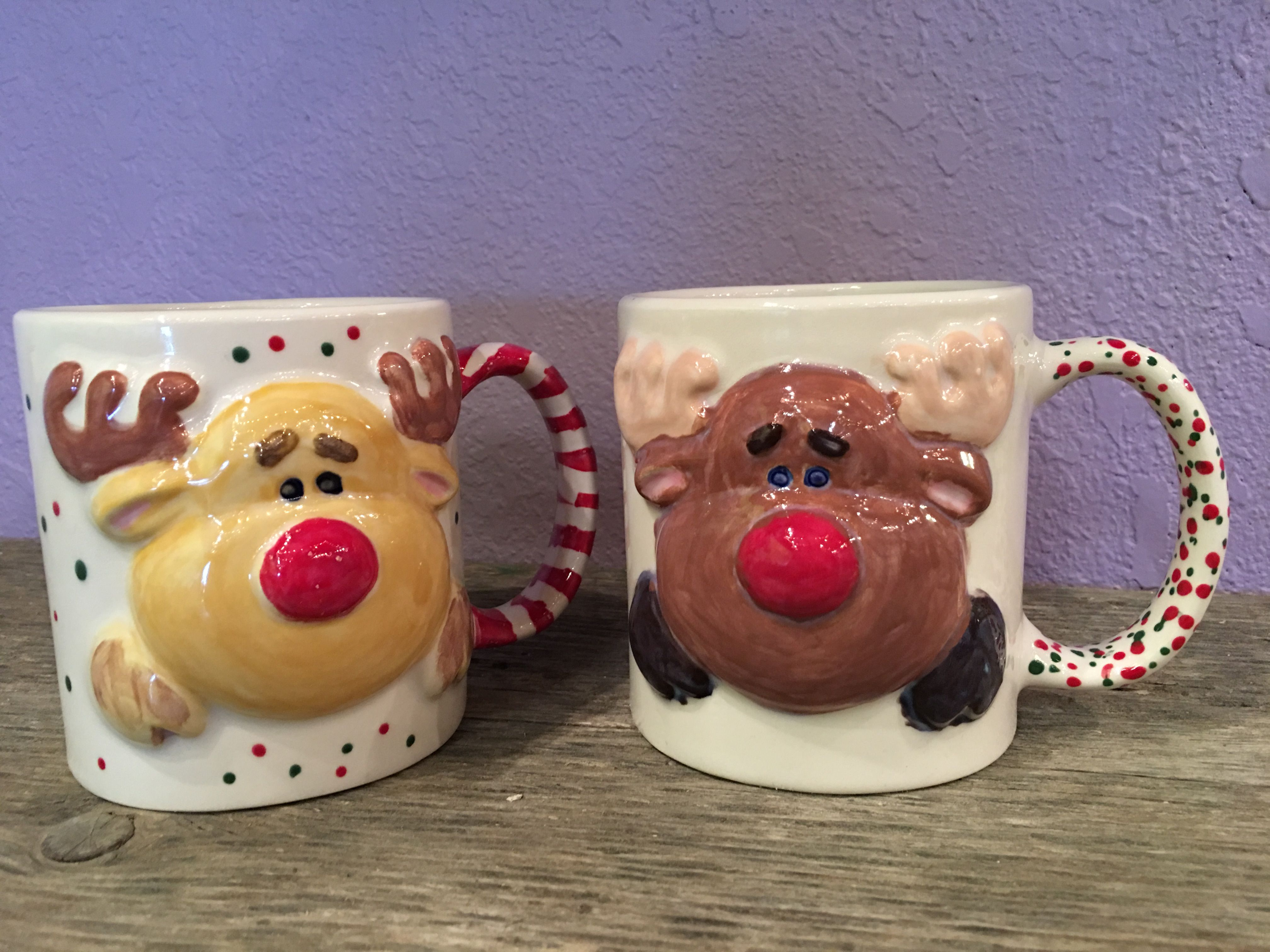 """Ready to paint Bisque 4/"""" tall Rudolph the Red Nose Reindeer Christmas Ornament"""