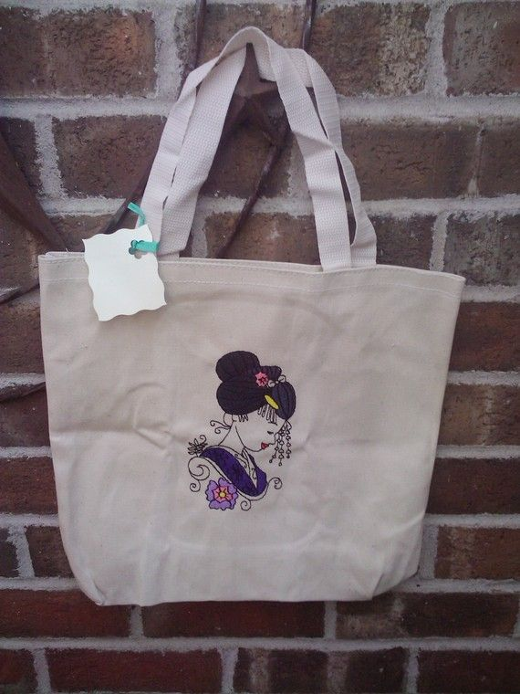 Embroidered geisha on med tote bag by TangledWebStore on Etsy, $10.00