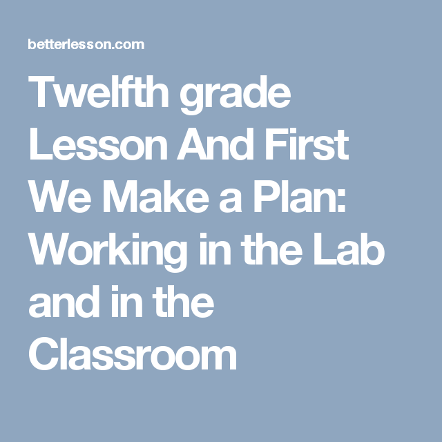 Twelfth Grade Lesson And First We Make A Plan Working In The Lab