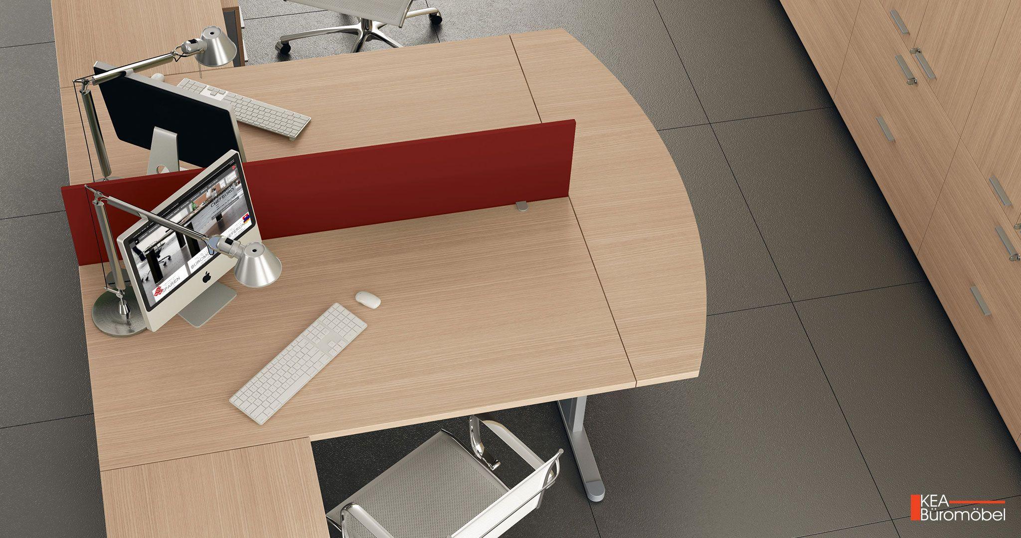 Kea Schreibtisch Kea Doppelarbeitsplatz mit Kea Sichtschutzblende und Kea Computerhalter Frei kombinierbar mit Kea Anstelltisch oder Kea Rollcontainer mit Schubladen
