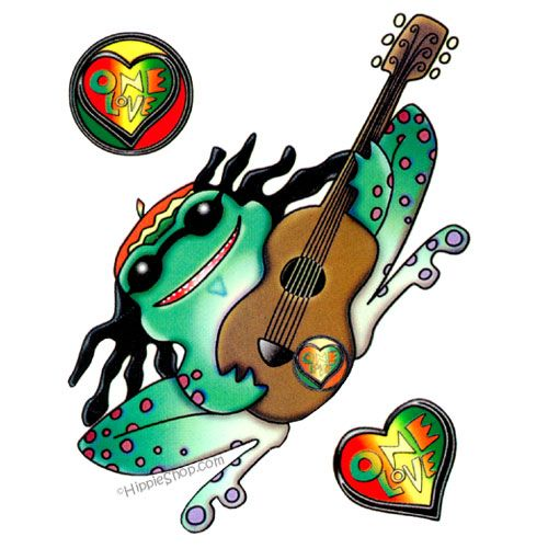 One love rasta frog 2 sided window sticker · peace fingerswindow
