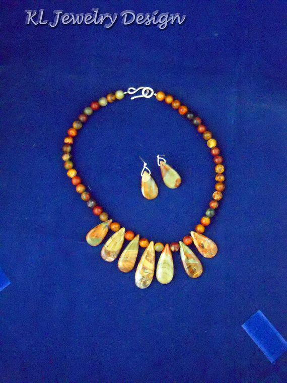 Red Creek Jasper Necklace and Earring Set by KL Jewelry Design, $30.00