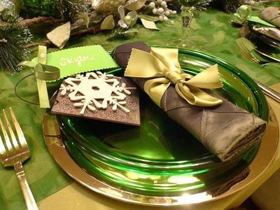 Table setting with unusual hues of green and gold, holiday elegance with a twist