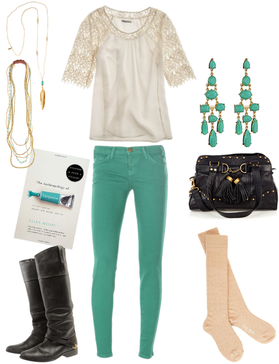 Lace and turquoise-y green :) (Also, The Anthropology of Turquoise [about how color and light inform inform human behavior] sounds like an interesting book.)