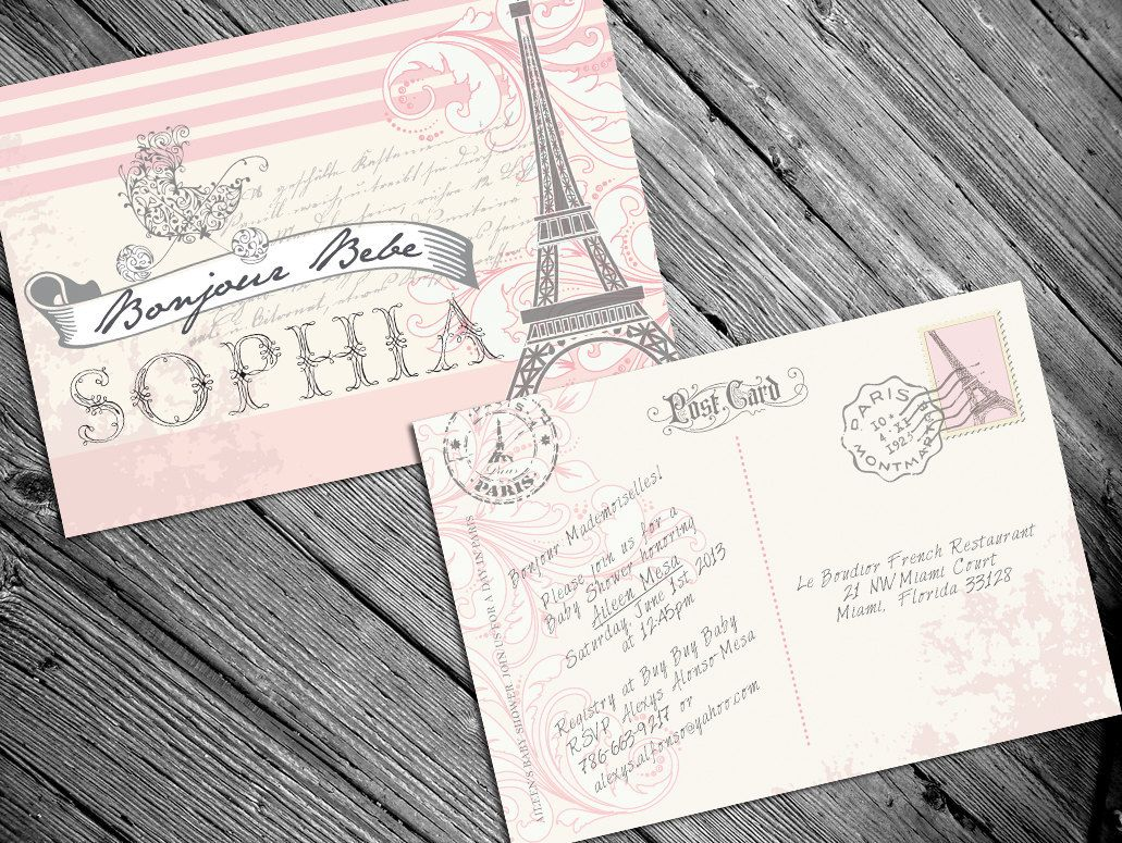Paris French Themed baby shower invitation by AlexysDesign on Etsy ...