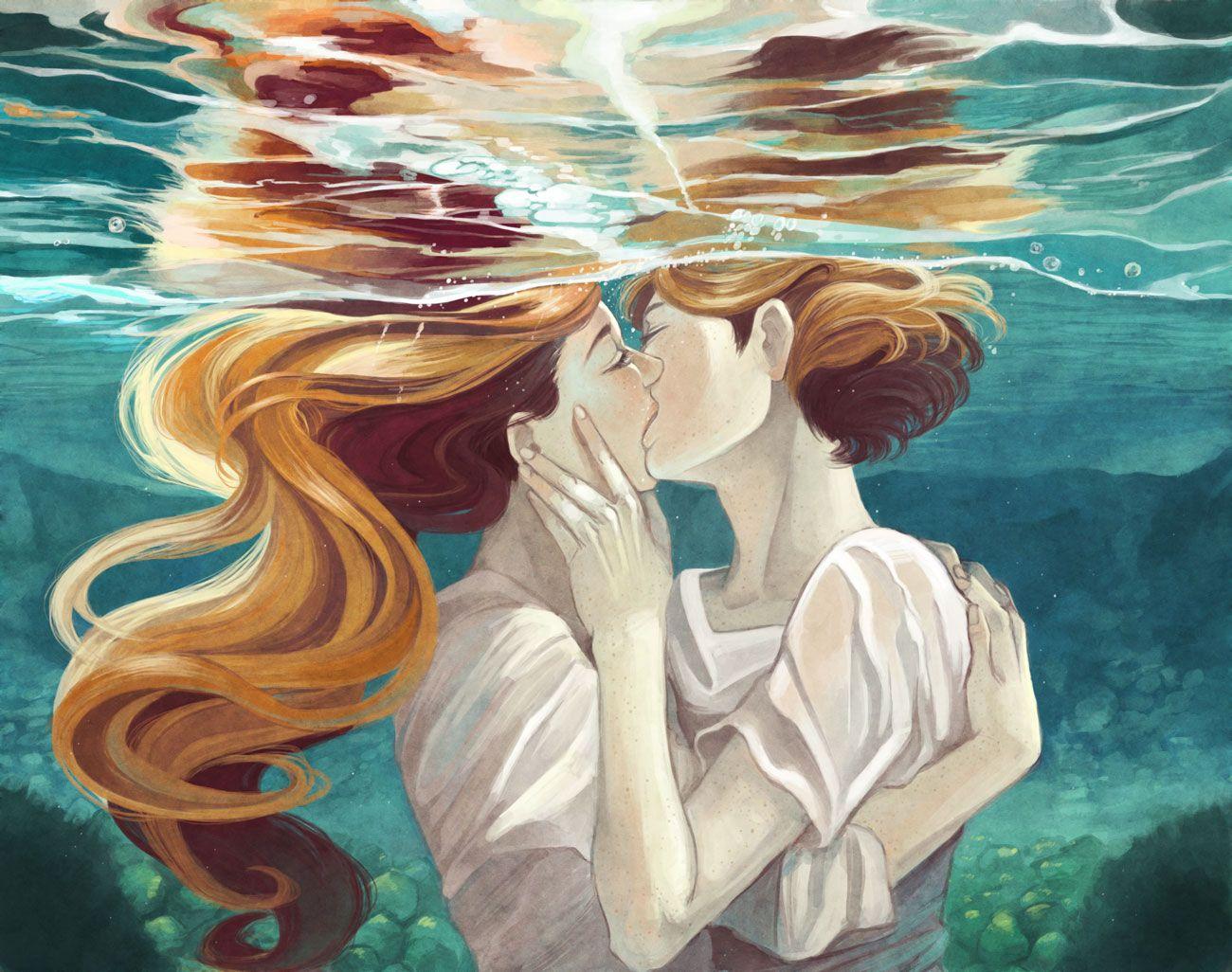Поцелуй девушек арт картинки