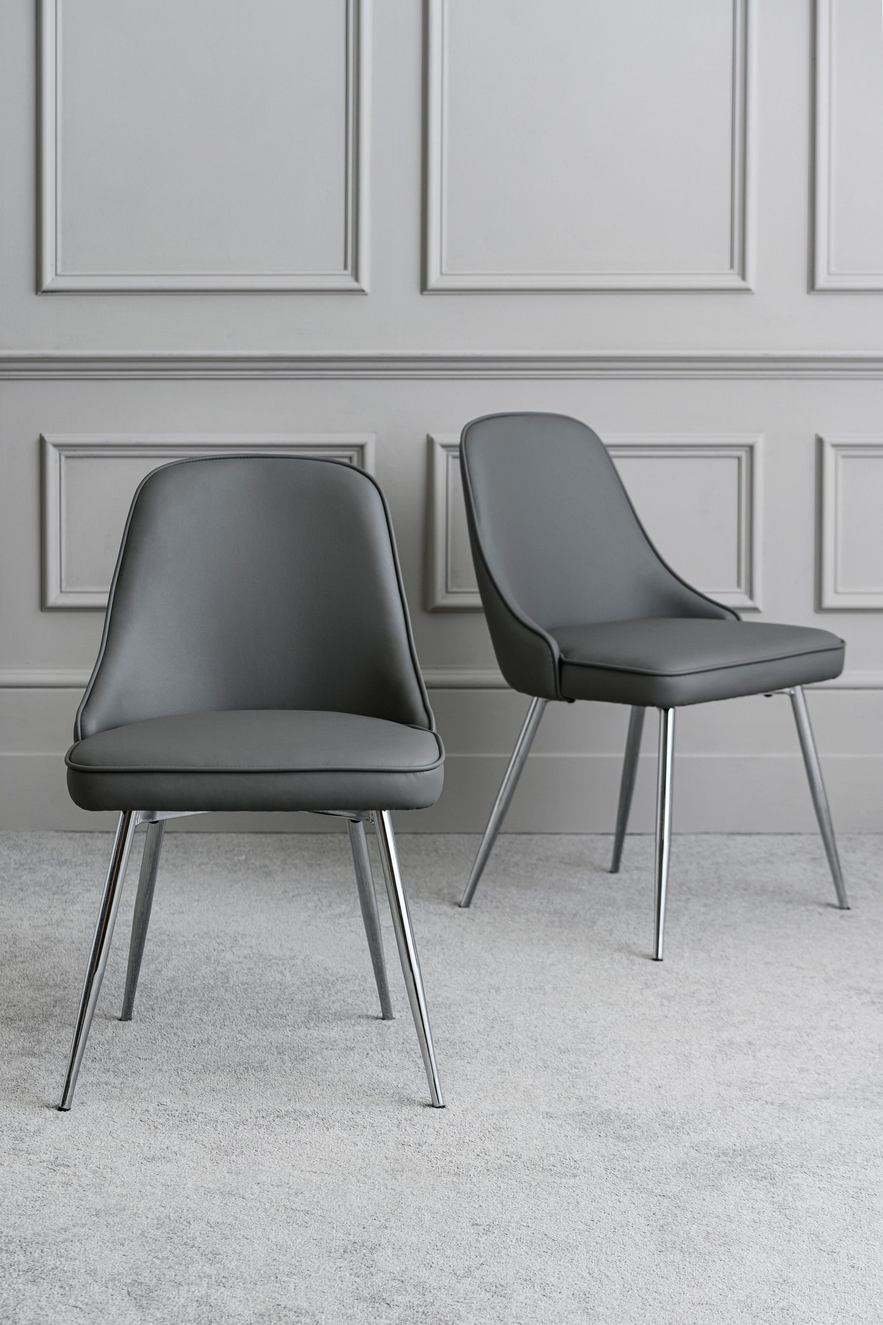 Next Set Of 2 Skyla Dining Chairs With Chrome Legs Grey Dining