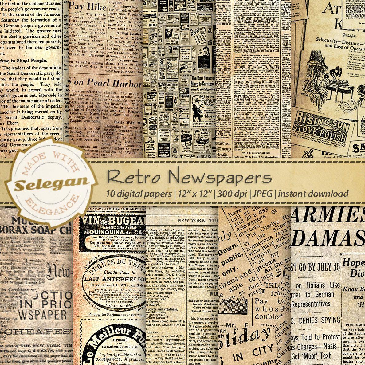 Retro Newspapers Antique Old Vintage Worn Classic News Paper Background Digital Newspaper Scrapbook Pack Grunge Textures Digital Newspaper Vintage Newspaper