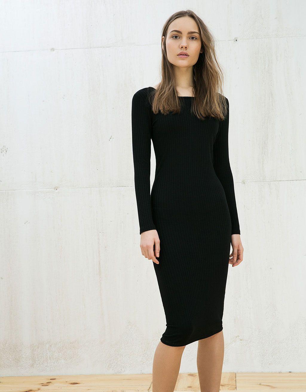 Robe noire dentelle bershka