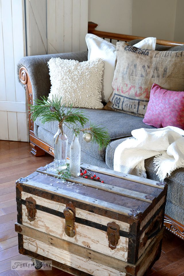 Small Trunk Coffee Table With Soda Bottles And Evergreen Branches Funkyjunkinteriors Net Log Cabin Decor Christmas Tree With Snow Snow Cabin