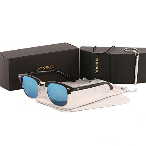 c6eff5b6e55 Ronsou Semi Rimless Horn Rimmed Polarized Sunglasses Women Men Retro Sun  Glasses black frameblue lens     Be sure to check out this awesome product.