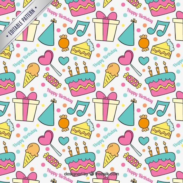Hand Drawn Colorful Birthday Pattern Pattern Doodle Girl Colorful Birthday