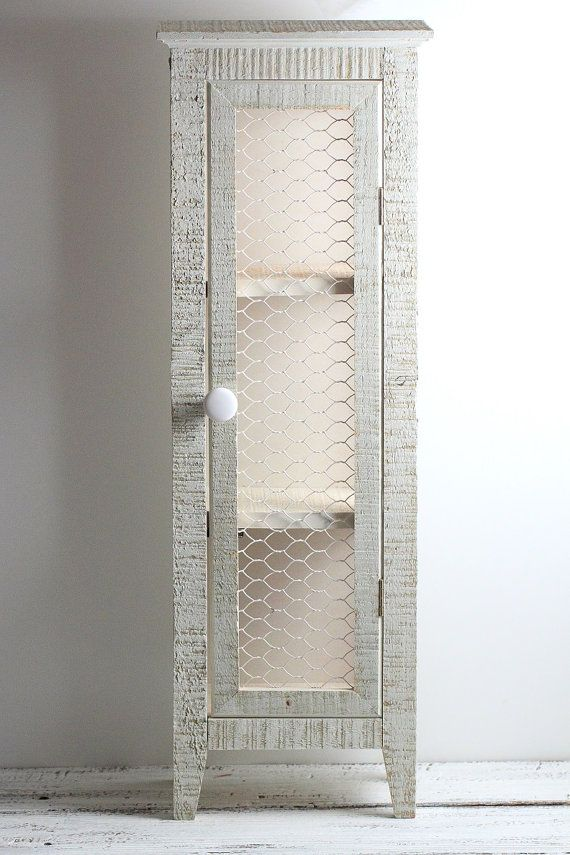Wood Cabinet Shelf Rustic Country Primitve Chicken Wire Storage A ...