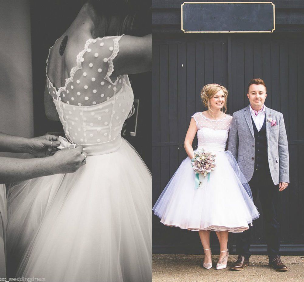 Vintage s polka dotted short beach wedding dresses bridal gowns