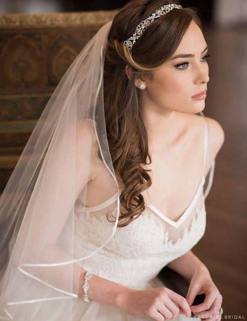 Bel Air Bridal V7303 Found At New York Bride Groom In Nc Bridal Hair Half Up With Veil Bridal Hair Half Up Wedding Hair Down