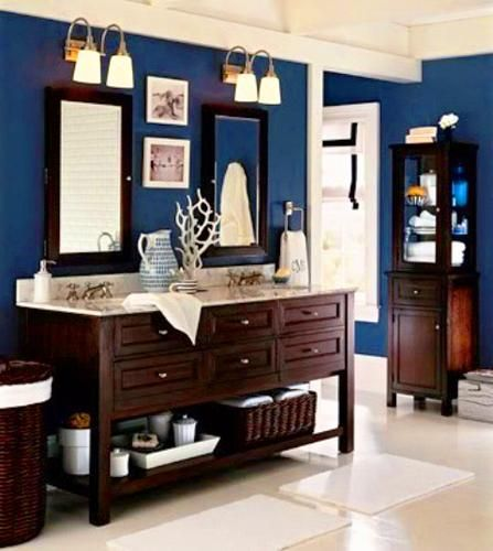 White And Blue Bathroom Colors Nautical Decor Theme