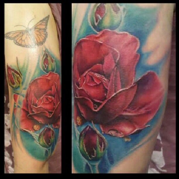 Color rose butterfly tattoo by Johnny Jinx at Broken Clover in Tucson, AZ