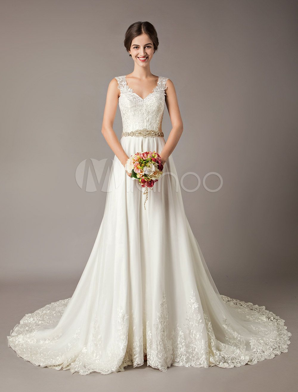 Best wedding dresses for 50 year olds  Wedding Dresses Ivory A Line Beading Sash V Neck Bridal Gowns With