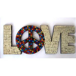 Love Mosaic Mirror Wall Hanging with Peace Sign