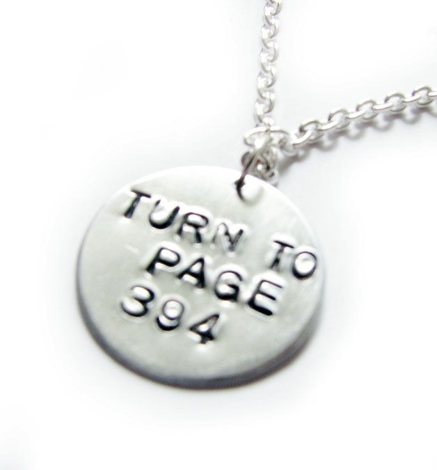 Turn To Page 394 Harry Potter Necklace Hand Stamped