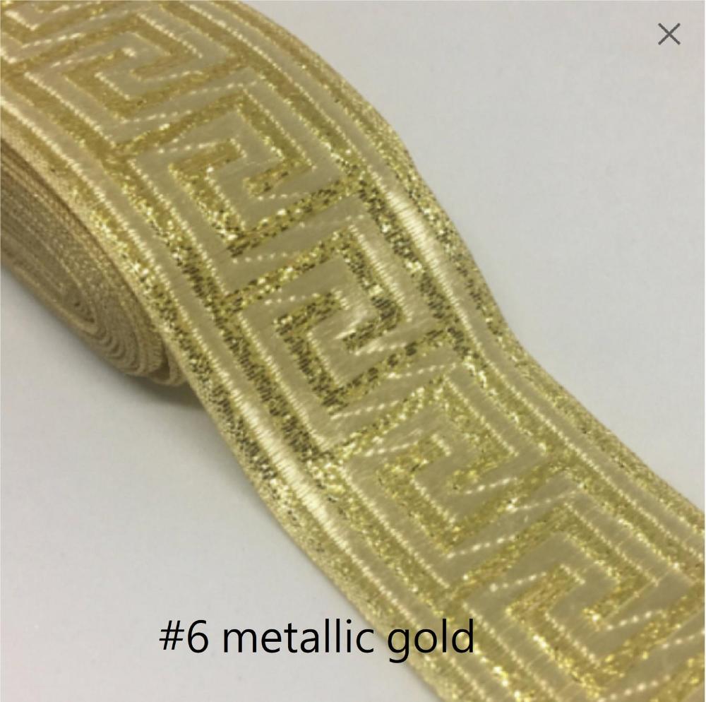 Metallic Gold Jacquard Ribbon 33mm Greek Key Trim Gold Etsy