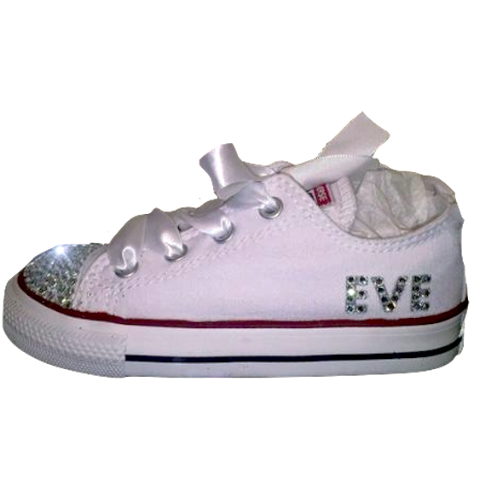 www.glittershoeco.com Kids Girls Sparkly White Converse All Stars Bling  Flower Girl Personalized Birthday Communion Shoes