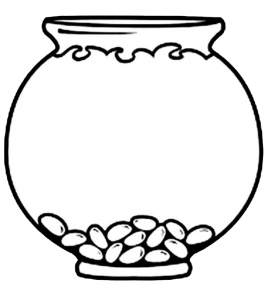 Fish outline bowl. Clipart black and white