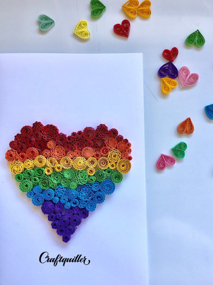 Quilled Rainbow Heart Love Card Valentines Day Card Mother S Day