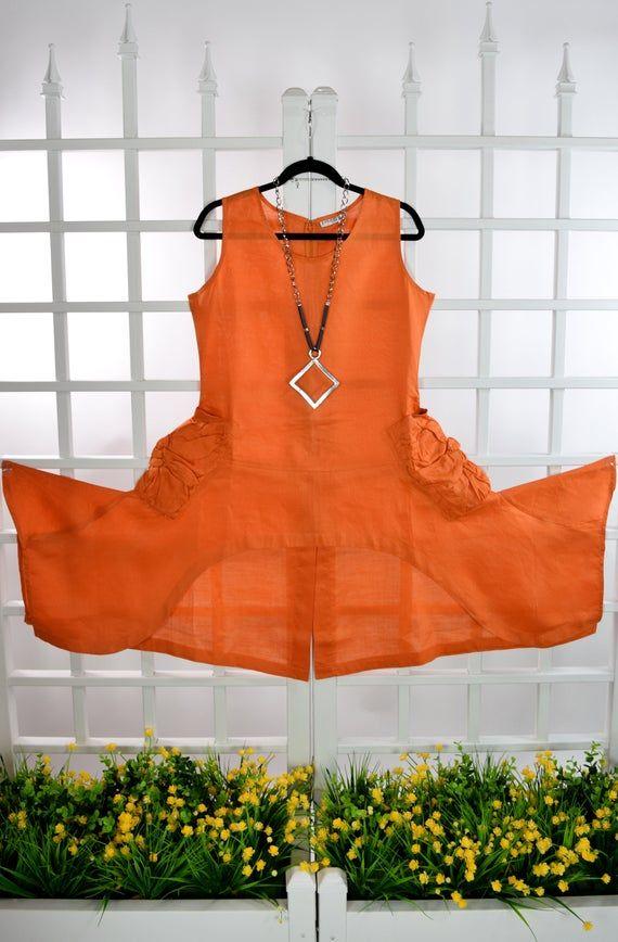 Ramie Linen Tunic, Lagenlook Tunic, Designer Tunic, Hi Low linen Tunic, Crisp Linen Tunic, Asymmetrical Linen Top, Women Linen Tunic #linentunic