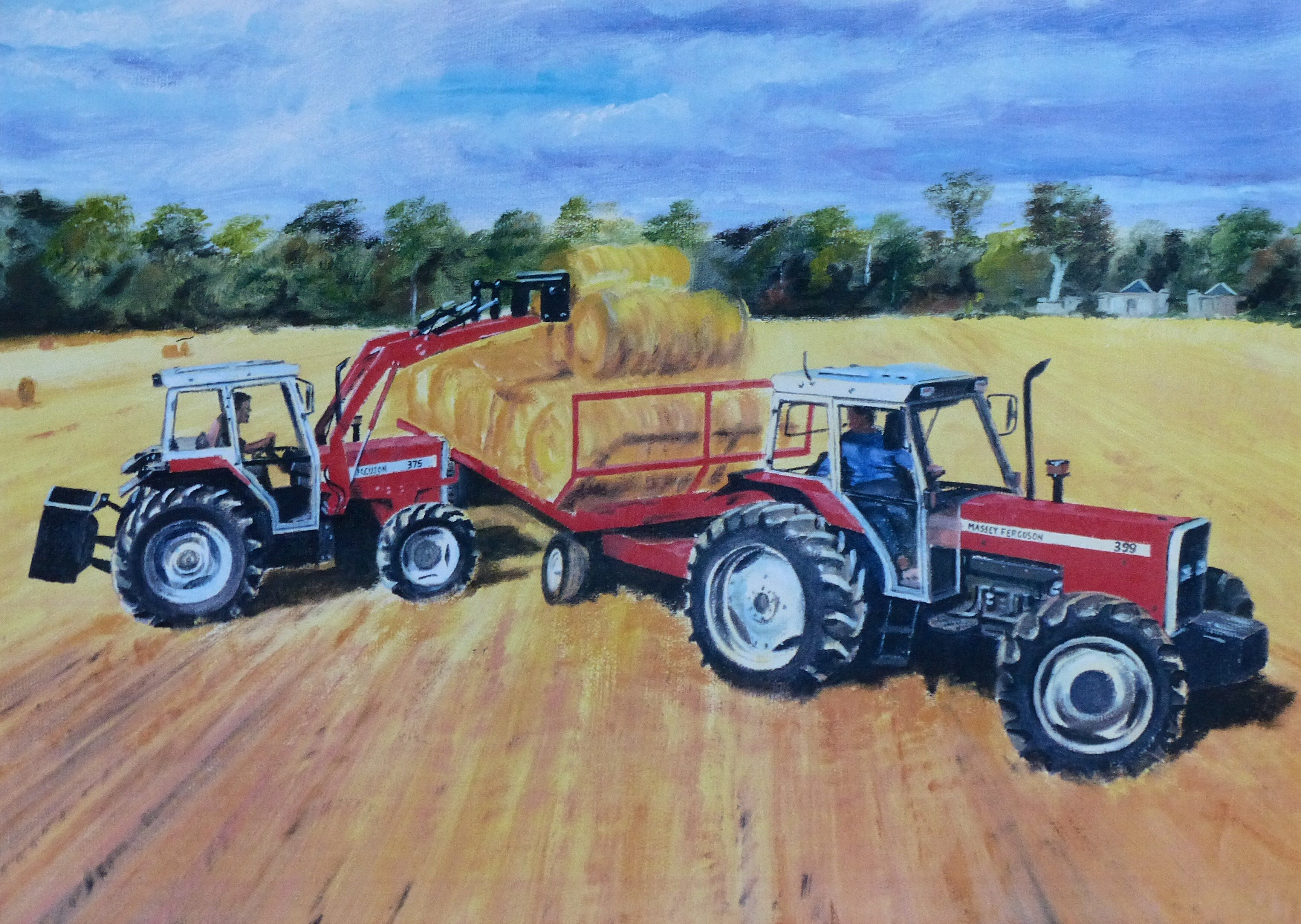 Original oil painting by Barrie Cann #oil #painting #tractor #farm #art #Barrie #Cann #barriecann #harvest