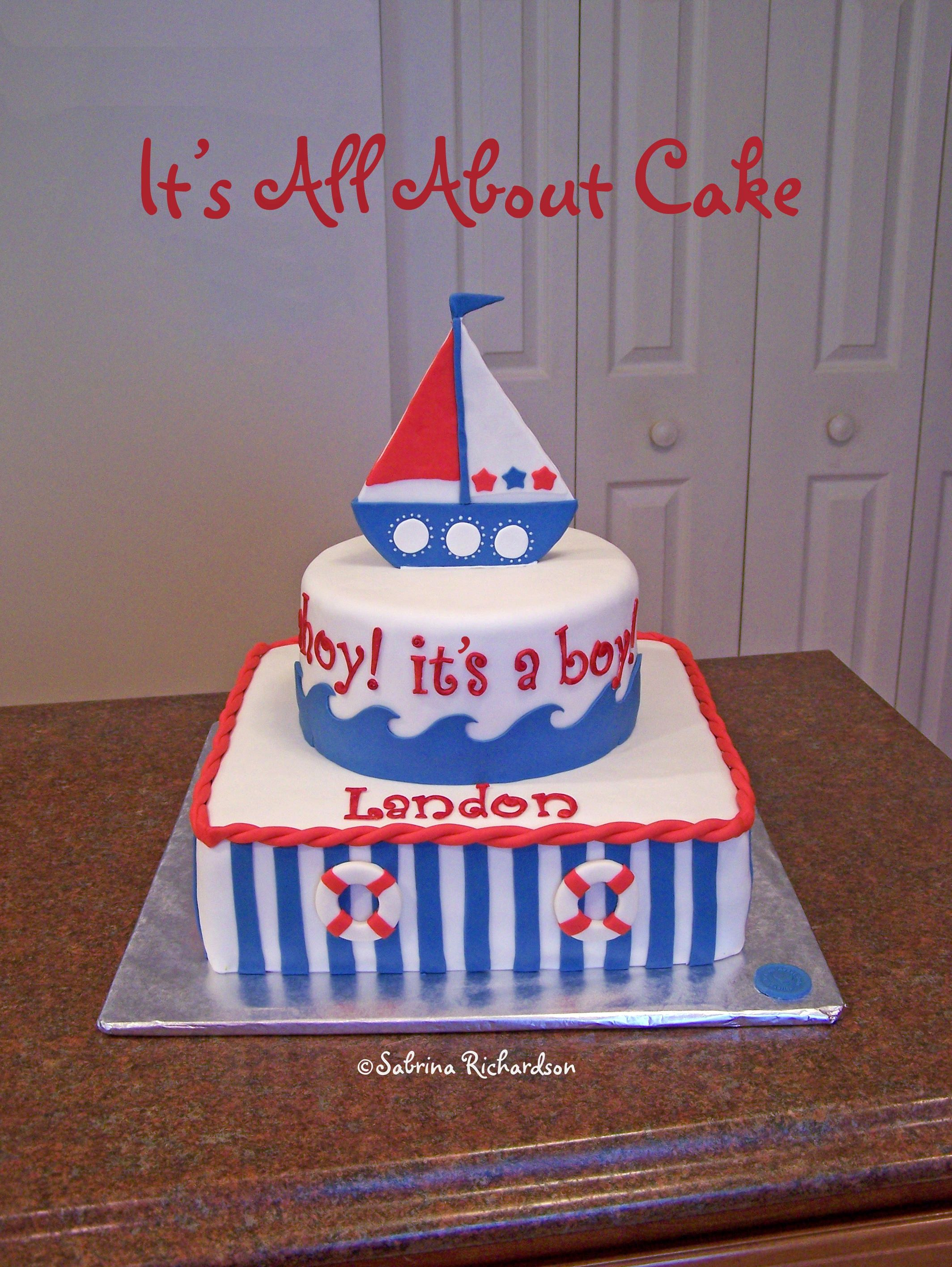 nautical baby shower cake Nautical themed baby shower cake