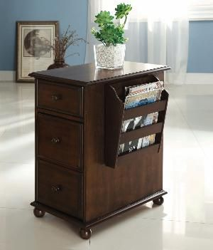 Youngstown classic style dark walnut finish wood chair side end table with magazine rack