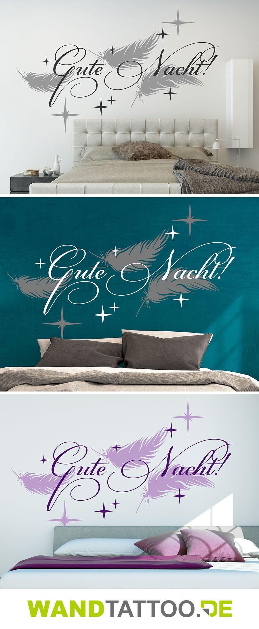 Gute Nacht mit Federn und Sternen | Plotten | Pinterest | Wandtattoo ...